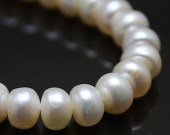 White Freshwater Pearls Button Pearls 6mm - 6.5mm - Full Strand