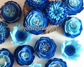 Blue Flowers, Felt Flowers, Blue Felt Flowers, Blue Decoration, Wedding Decor