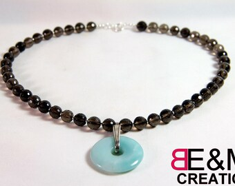 Amazonite and smoky quartz 925 sterling silver necklace