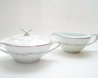 Mid Century China Serving Pieces China Creamer & Sugar Set Noritake Porcelain Cream and Sugar Bowl Modern Silver Platinum Trim