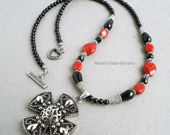 Black Onyx and Red Jasper Gemstone Necklace with Stainless Steel Filigree Flower Pendant 24in, Handmade Jewelry