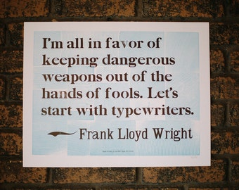 "Frank Lloyd Wright Letterpress quote 14"" x 18"""