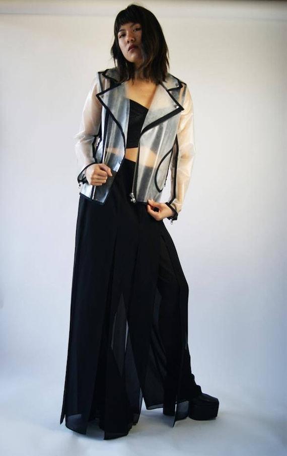 Wanda Nylon Transparent Rain Vintage Biker Jacket by Etsy