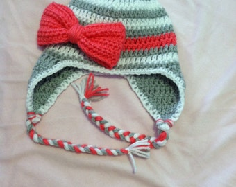 Gray and White Striped Bow Hat--Your Choice of Color for the Bow