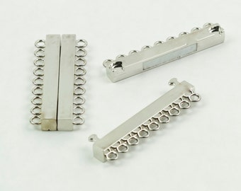 Magnetic Clasp 9 rows Silver Plated Brass 2L x .75W