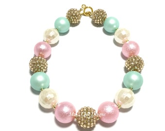 Toddler or Girls Pink, Mint, Gold and Ivory Chunky Necklace - Pastel Chunky Necklace - Pink and Mint Necklace - Mint and Gold Necklace