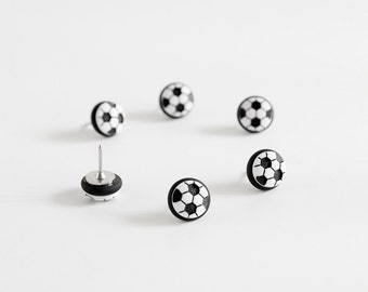 Soccer Ball Sports Push Pins, Map Pins. Futbol Fan Home Office Organization in Black Polymer Clay. FIFA Olympics Handmade Fun Gift Set of 6