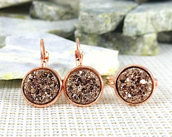 Bridesmaid Gift - Rose Gold Druzy Earrings and Ring Set - Flower Girl Gift - Bridesmaid Jewelry - Maid of Honor Gift - Rose Gold Jewelry