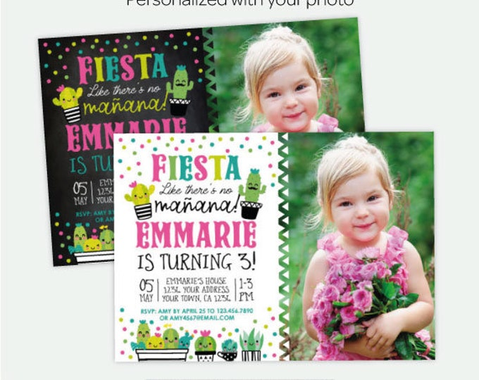 Succulent Birthday Invitation with photo, Fiesta Birthday Party, Cinco de Mayo Invitation, Personalized Digital Invite, 2 Options
