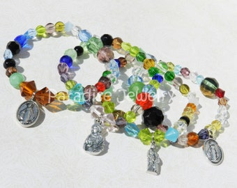 Patron Saint Bracelet, Stained Glass, Joan Of Arc, Ann, Agatha, Kateri, Clare, Miraculous Medal, Confirmation Gift, Gift For Her, Namesake