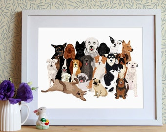 Dogs print, puppy art , dog illustration, pets decor, gift for dog lover, gift for animal lover, pets accesories, pet portrait, dog wall art
