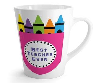 Latte Mug BEST TEACHER EVER Crayon Text Message Gift Present