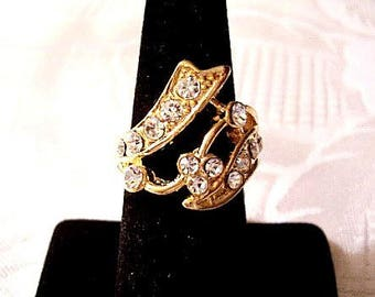 Flower Wrap Band  Size 6 Ring Gold Tone Vintage Crystal Abstract Round Clear Stones
