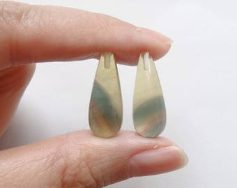 Yellow Green Fluorite Half Top drilled Smooth Teardrops 8x20 mm One Pair K5062