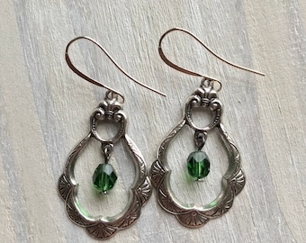 Emerald Green and Silver Chandelier Earrings, Antique, Vintage, Drop, Scalloped