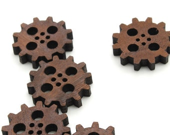 "Steampunk Clock Gear Wood Buttons 1"" - Laser Cut from Sustainable Harvest Wisconsin Wood - Timber Green Woods"