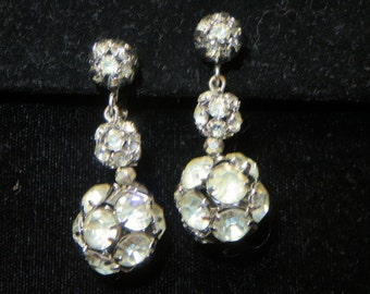 Vintage Rhinestone Drop Dangle Earrings with Clasp Back Intricate Ball Design