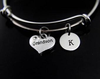 Grandson Bracelet Silver Grandson Charm Bangle Grandson Charm Grandson Heart Charm Jewelry Grandson Gift Personalized Initial Bangle