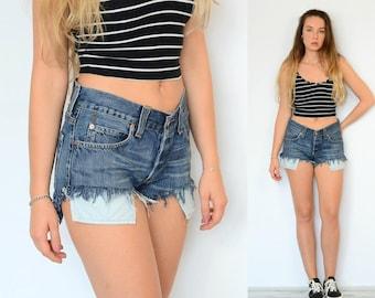 Denim shorts Levis vintage Cutoffs jeans frayed ripped distressed woman 90s navy blue festival grunge M Medium