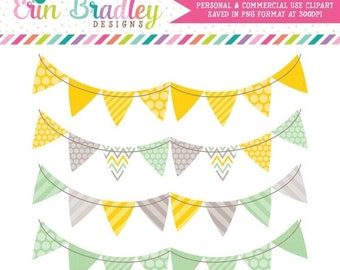 80% OFF SALE Instant Download Clipart Bunting, Yellow & Green Double Banners Clipart, Stripes Polka Dots Chevron Patterns