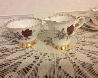Vintage Royal Staffordshire Roses to Remember Sugar and Creamer Milk Jug Set