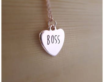 Boss, Funny Necklace, Funny Statement Jewelry, Funny Valentine Gift for Wife, Funny Graduation Gift, new job gift, Rose Gold Dainty Necklace