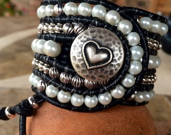 Handmade Beaded Cuff Bracelet, pearl, silver and black leather wrap style