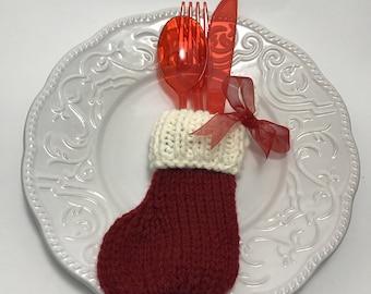 Christmas Stocking Utensil Holder, Set of 4, Seasonal Home Decor, Cutlery Holder, Christmas Cutlery Holder