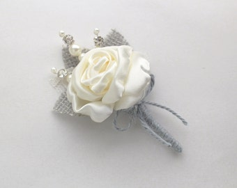 Gray Ivory Rose Burlap Boutonniere 8 available Rose Lapel Pin Handmade Rustic Wedding Accessory