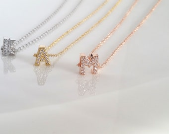 Rose Gold Initial Necklace, CZ Necklace, Bridesmaid Gift, Christmas Gift, Gold Initial necklace, Dainty Initial Necklace