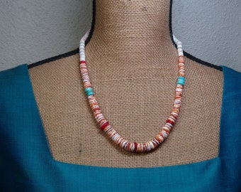 Natural Orange Spiny Oyster Shell,AAA Red Coral,Turquoise, 925 Silver Necklace