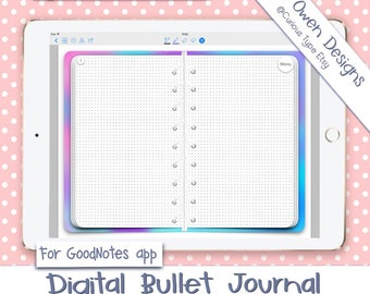 Digital Bullet Journal With Hyperlinks  PDF Files Watercolour Background