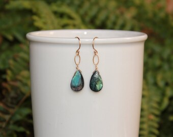 Blue Labradorite Earrings, Gold or Silver, Labradorite Jewelry, Blue Labradorite Dangle Earrings, Labradorite, Lightweight, Free Shipping