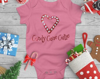 Candy Cane Cutie Christmas Baby Onesie