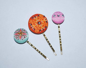 Embroidered Hair Pins - Buy 3 Items, Get 1 Free, Girls Bobby Pins, Button Hair Pins, Fabric Bobby Pins