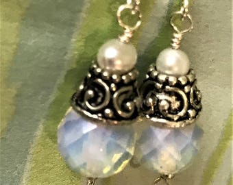 Opalite and Antique Silver Earrings, Opalescent Empress Earrings