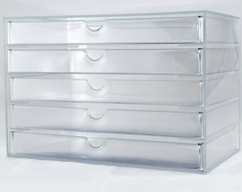 Kardashian Style clear make up 5 drawer unit
