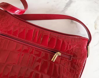 vintage 80s red leather purse // genuine leather // made in Canada