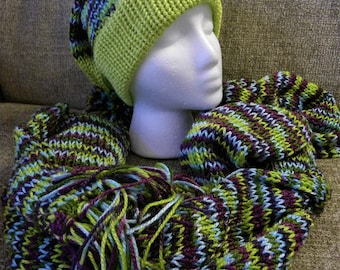 Lime Green and Purples Super Soft Knit Hat and Scarf Matching Set, Very Slouchy Beanie with Pom Pom