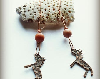 Primitive Horse Copper Earrings with Aventurine
