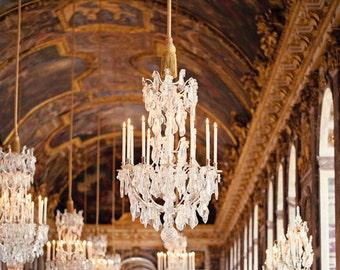 Paris Photography, Paris Decor, Versailles Hall of Mirrors, French Decor, Chandelier Photograph, Paris Print, Chandeliers - Opulence
