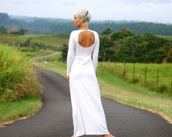Long Sleeve Fitted Back Cut Out Maxi Dress - Several Colors Available - Organic Wedding Dress