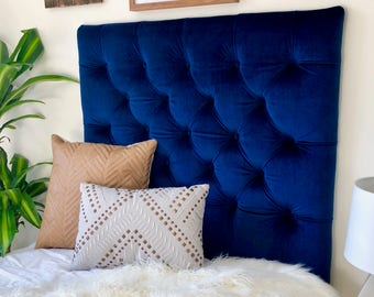 Royal Blue Velvet Tufted Headboard Upholstered Headboard With