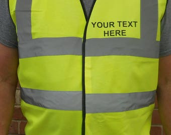 New Hi-Viz WAISTCOAT Vest - Custom Printed BOTH SIDES with your choice of text. Various sizes. Orange or Yellow. EN471 Class 2 Compliant.