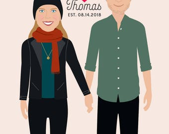 Valentines Day Gift for Husband, Custom Couple Illustration, Couple Portrait, Custom Portrait, Anniversary Gift, Custom Wedding Gift