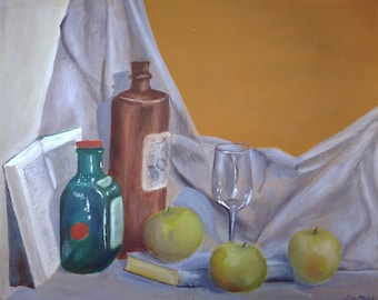 Apples and Books original acrylic painting by S. W. Mills