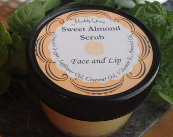 Sweet Almond Scrub by Maddy Grace.  Sugar scrub for face and lips.