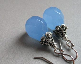 Simple Drop Earrings, Drop Earrings, Dusk Blue Chalcedony Drop earrings, drop earrings, blue earrings, chalcedony earrings
