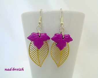 "Earrings Fimo polymer clay ""Small leaves of maple leaf gold print"" Purple - handmade"