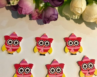 Set of 6 owl wooden buttons decoration ,Embellishments ,Card making